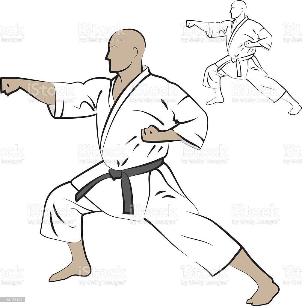 Man performing karate strike. vector art illustration