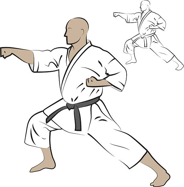 Man performing karate strike. vector art illustration