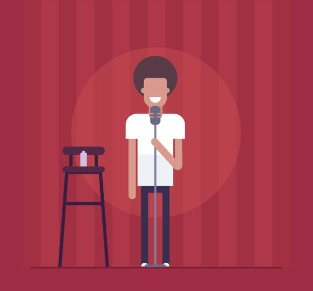 Man performing - modern flat design style isolated illustration Man performing - modern flat design style isolated illustration on red curtain background. Smiling stand-up comedian acting before the audience. An image of a high chair, bottle, microphone one man only stock illustrations