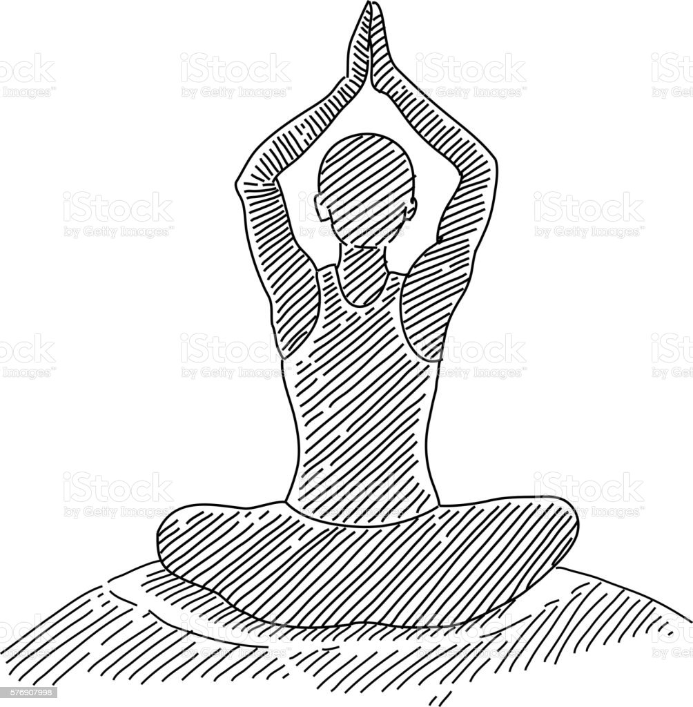 Man Performing Yoga Drawing Stock Illustration Download Image Now Istock