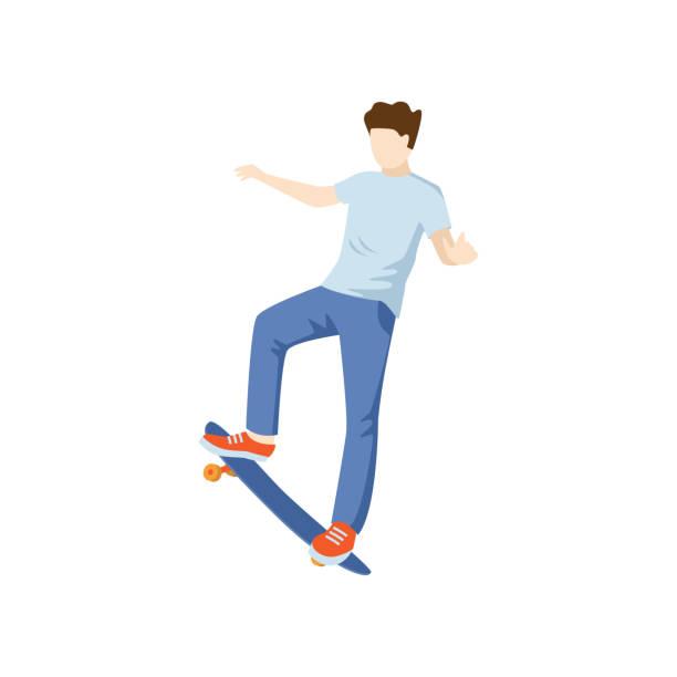 stockillustraties, clipart, cartoons en iconen met de mens voert skateboardstunts uit die op witte achtergrond worden geïsoleerd. - breed