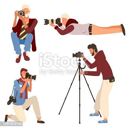 istock Man Photographing, Taking Photo, Camera Vector 1297975140