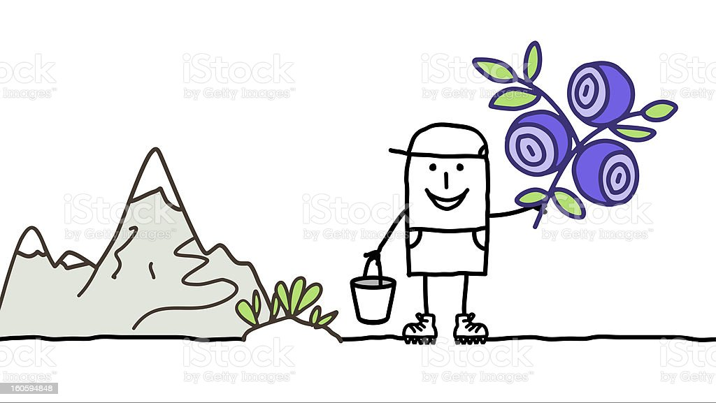 man picking blueberries & mountain royalty-free stock vector art