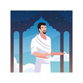 man pilgrim hajj standing, day of Dhul Hijjah vector illustration design