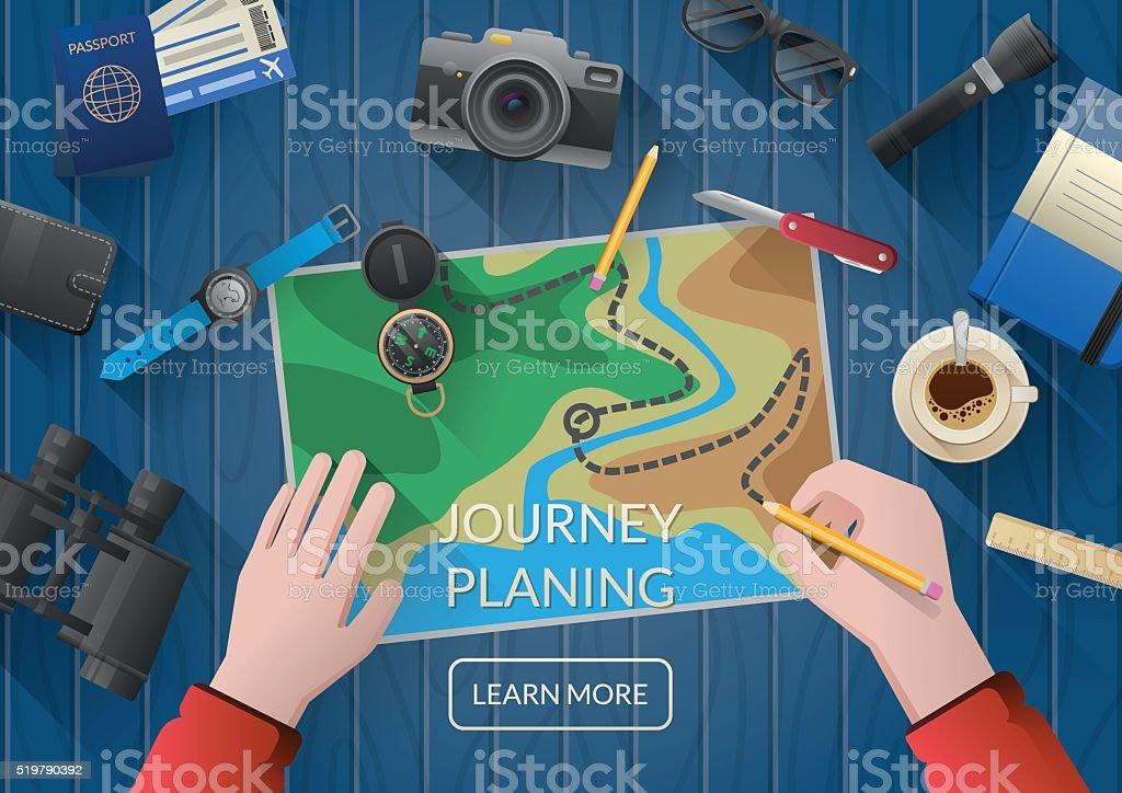 Человек, планирования отпуск путешествие с карты. Вид сверху;  плоский дизайн векторная иллюстрация