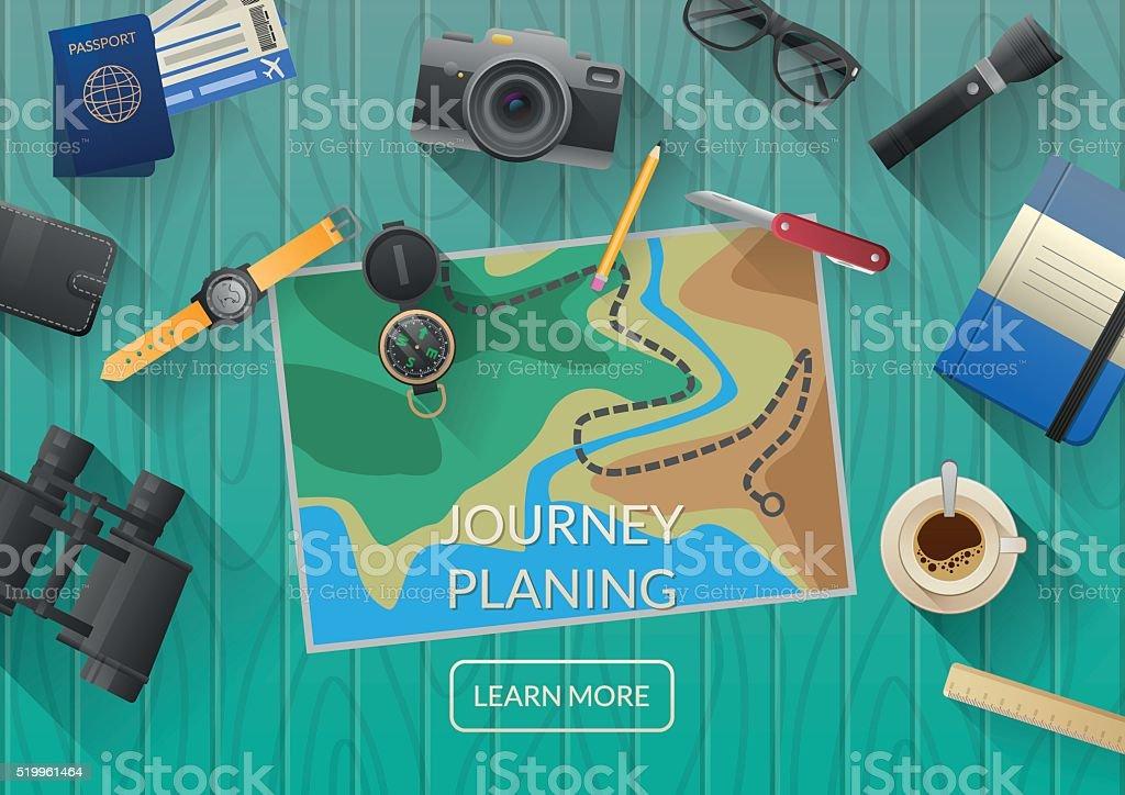Человек, планирования отпуск путешествие с карты. Вид снаружи векторная иллюстрация