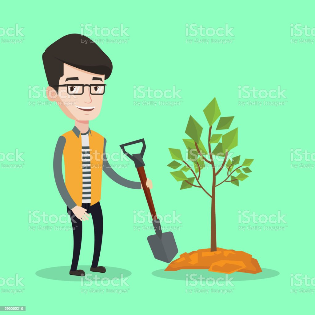 Man plants tree vector illustration. royalty-free man plants tree vector illustration stock vector art & more images of agriculture