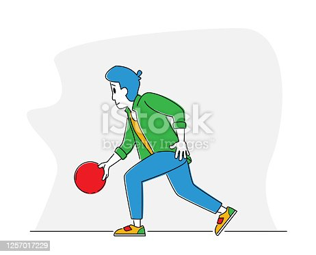 istock Man Player Throw Ball on Lane. Bowler Character Spend Time on Weekend Playing in Bowling Club. Leisure, Active Lifestyle 1257017229