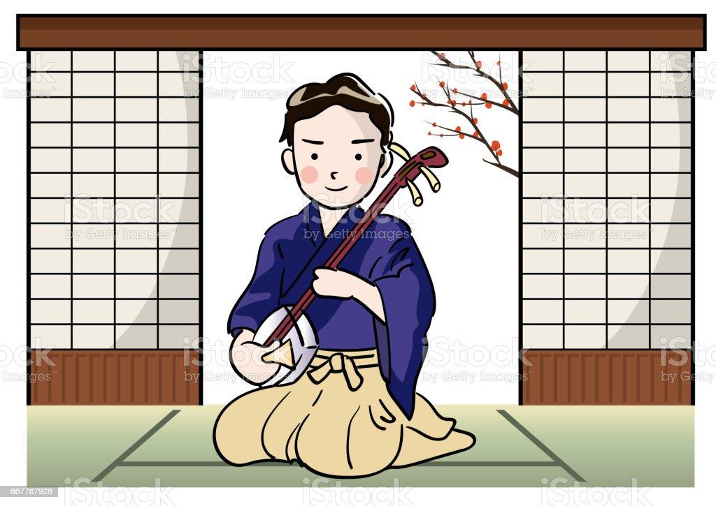 A man playing a shamisen vector art illustration