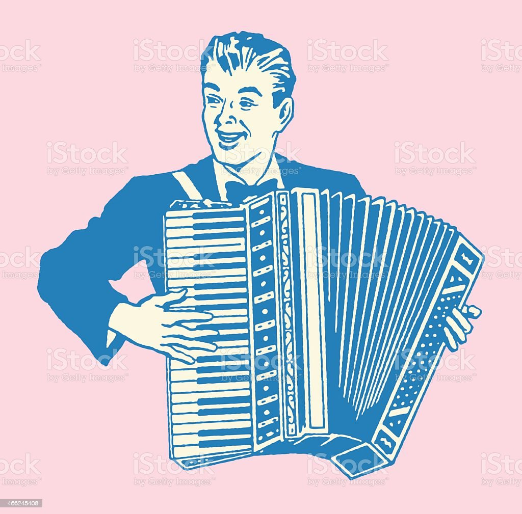 Mann spielt Akkordeon – Vektorgrafik