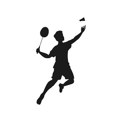 Man playing badminton silhouette icon