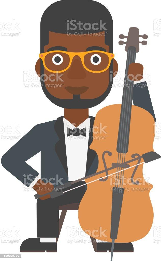 Man playing cello vector art illustration