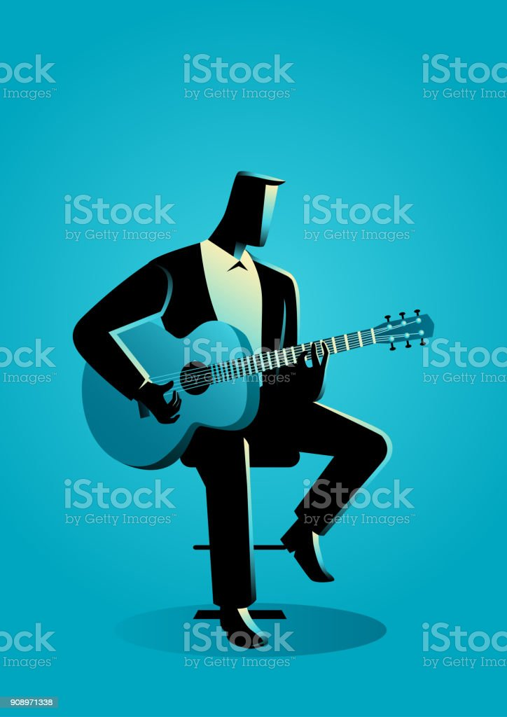Man Playing Guitar vector art illustration