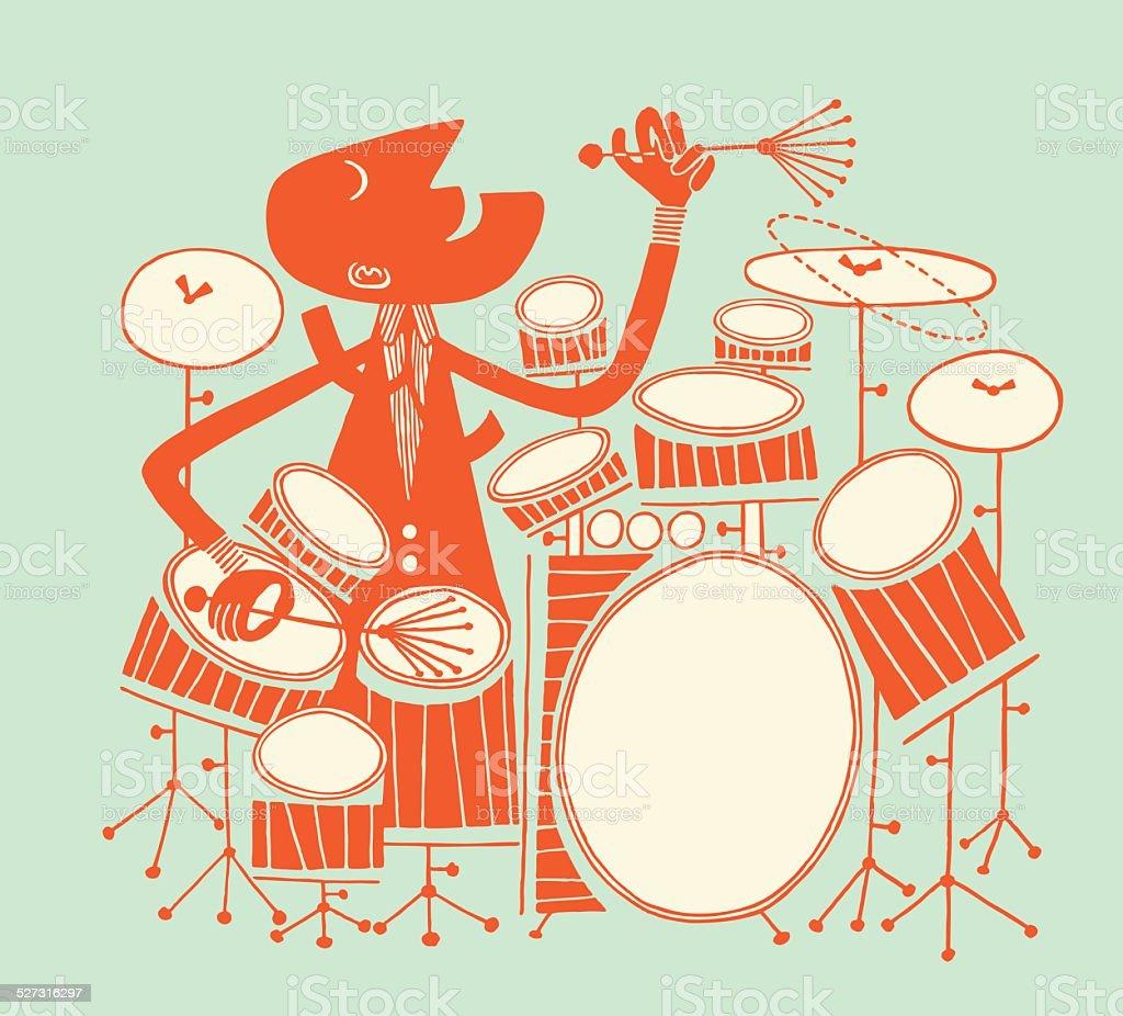 Man Playing Large Drum Kit vector art illustration