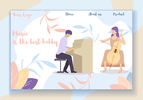 Man Playing On Piano And Woman Play On Cello Duet Stock
