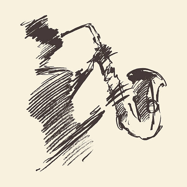 stockillustraties, clipart, cartoons en iconen met man playing saxophone drawn vector sketch. - blaasinstrument