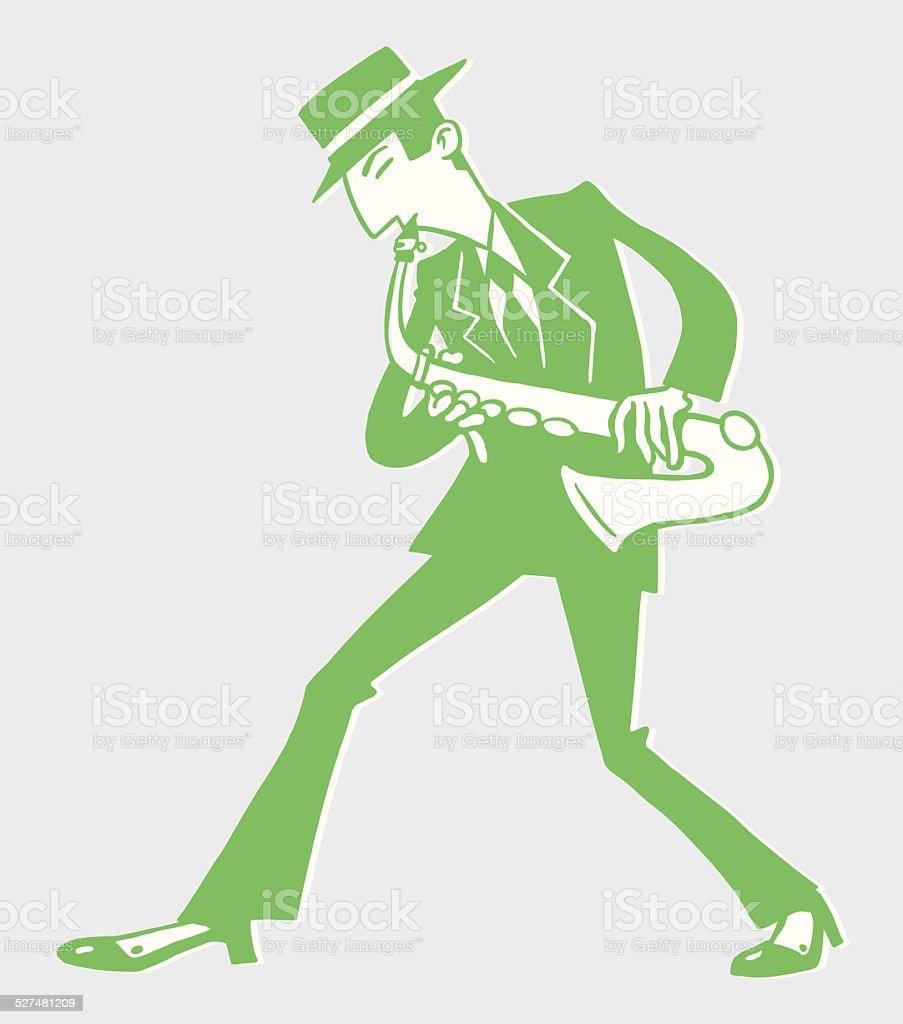 Man Playing Saxophone vector art illustration