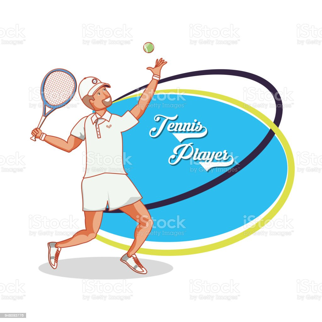 man playing tennis character vector art illustration