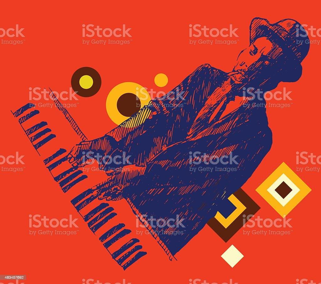JAZZ Man Playing the Piano Hand Drawn, Sketch vector art illustration