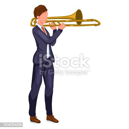 istock Man playing trombone in costume cartoon style 1316204028