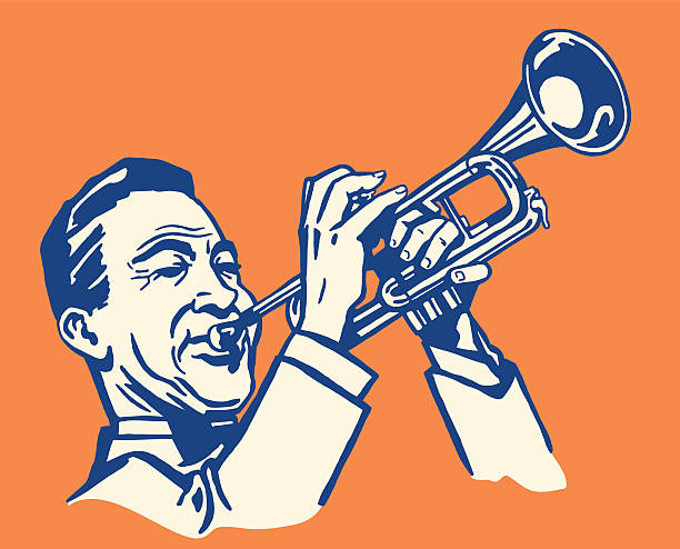 stockillustraties, clipart, cartoons en iconen met man playing trumpet - trompet