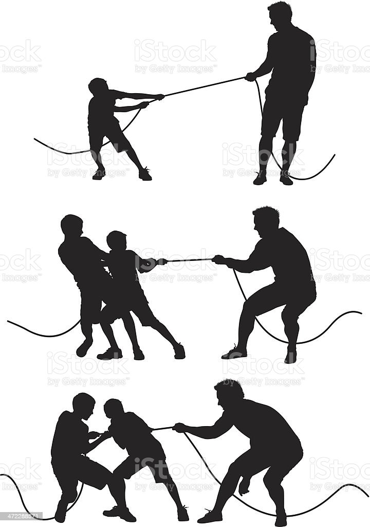 Man playing tug-of-war with children vector art illustration