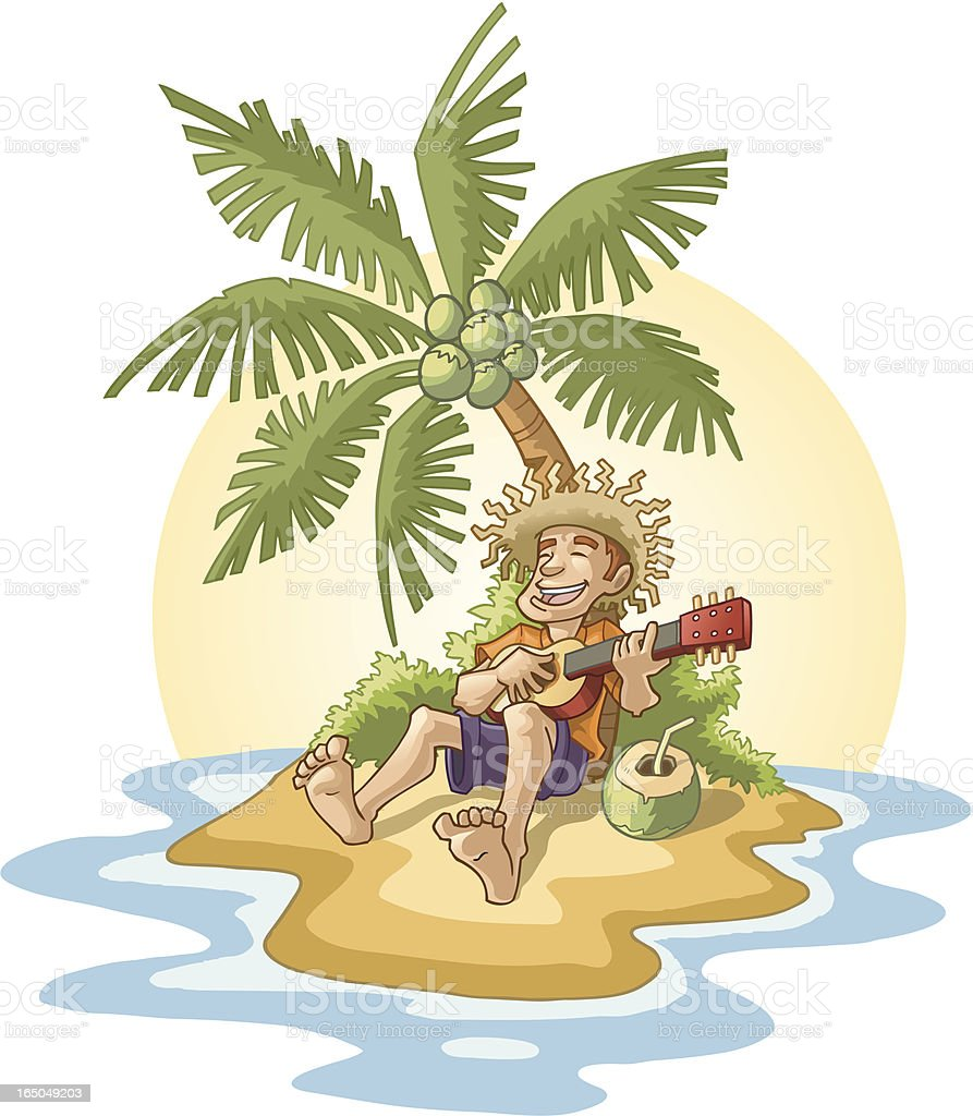 Man Playing Ukele on Tropical Island royalty-free stock vector art