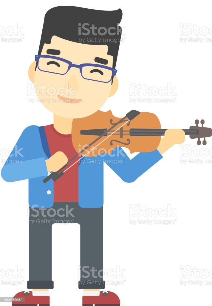 Man playing violin vector art illustration