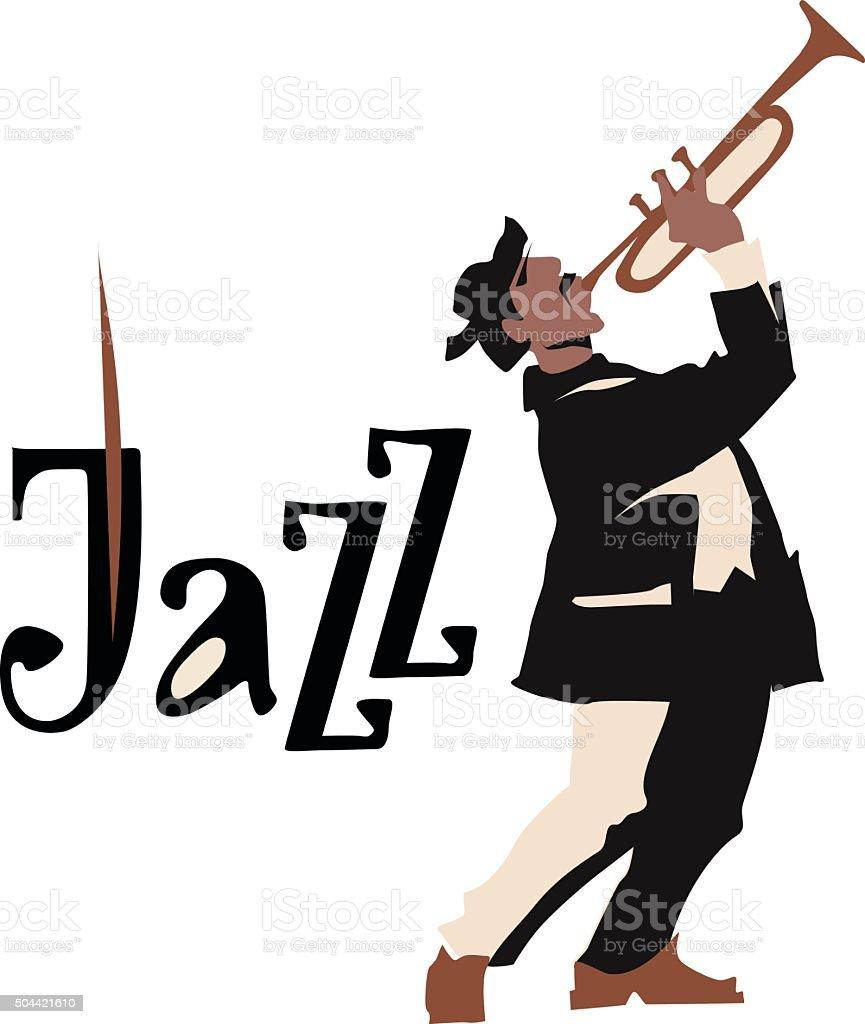 Man Playng トランペットますジャズインスクリプションますベクトル