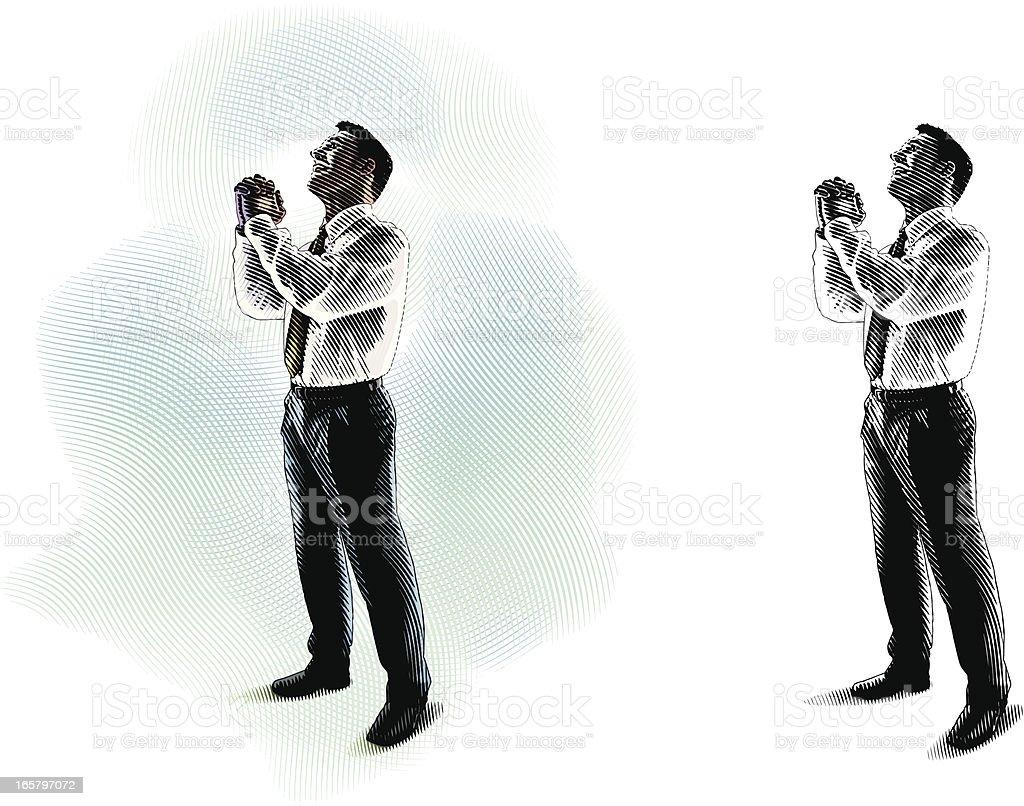 Man Pleading vector art illustration