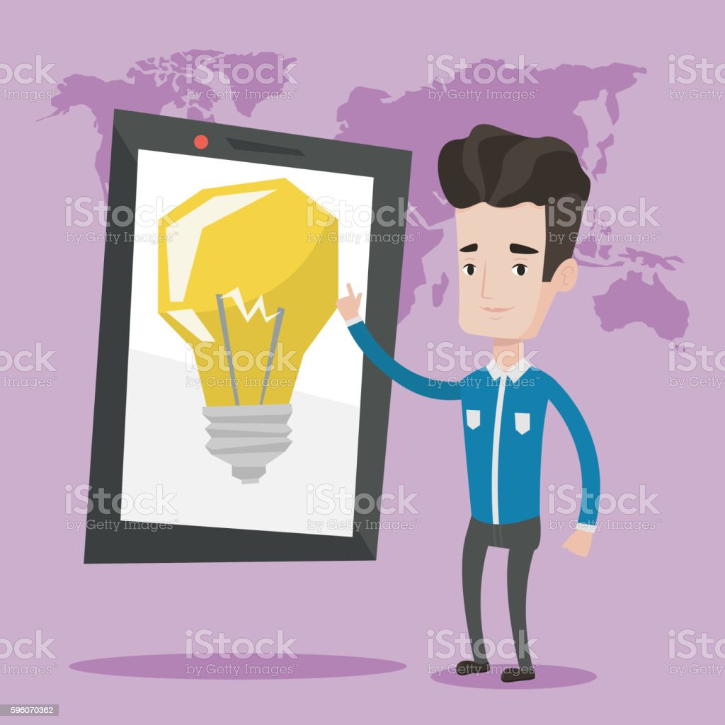 Man pointing at big tablet computer. royalty-free man pointing at big tablet computer stock vector art & more images of business
