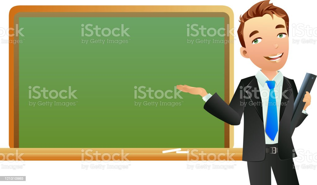 royalty free male teacher at blackboard clip art vector