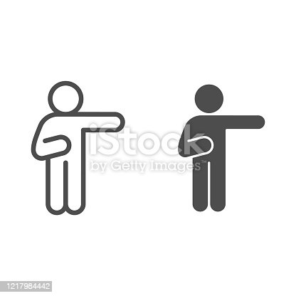 istock Man pointing with right arm line and solid icon. Man raise a hand pointing to the right outline style pictogram on white background. Human poses for mobile concept and web design. Vector graphics. 1217984442