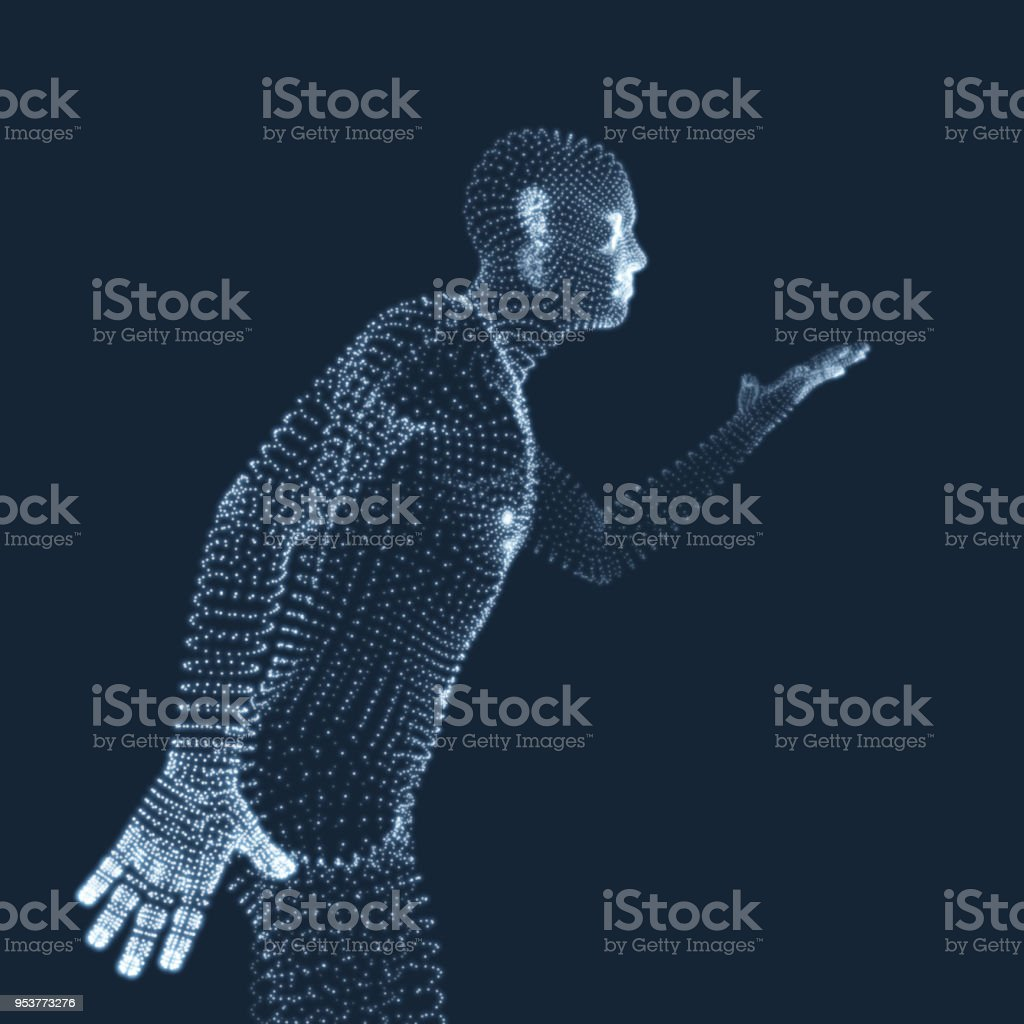 Man Points to Something by Hand. 3D Model of Man. Geometric Design. Vector Illustration. vector art illustration