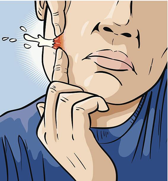 Man Popping Zit vector art illustration