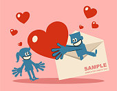 Blue Little Guy Characters Full Length Vector art illustration. Man pops out of an envelope and gives woman a huge heart love.