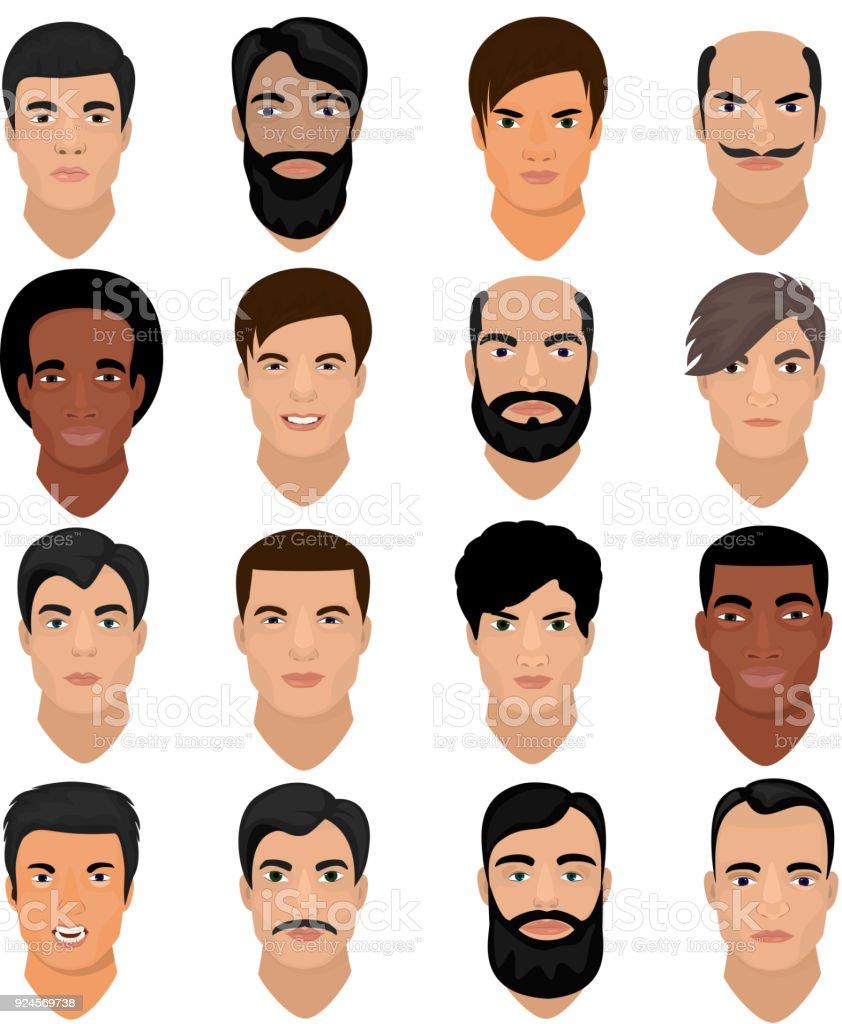 Mann Portrat Vektor Mannlichen Charakter Gesicht Eines Jungen Mit