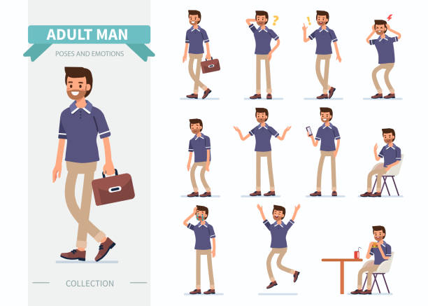 man poses - мужчины stock illustrations