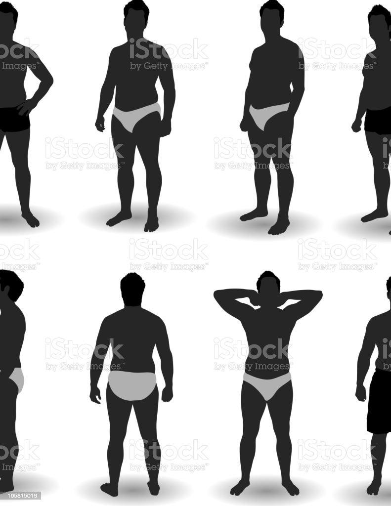 Man Posing in Underwear vector art illustration