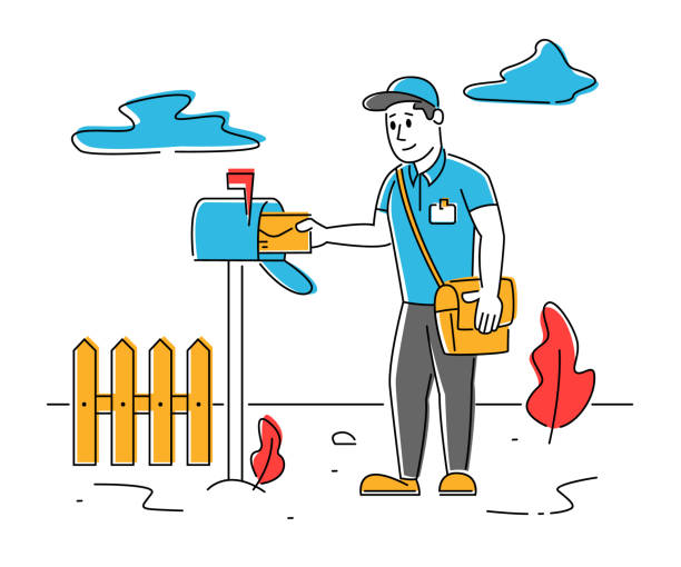 Man Postman with Bag on Shoulder Put Letter in Mail Box on Countryside Background. Mailman Character Post Office Employee Delivering Mailing to People. Cartoon Flat Vector Illustration, Line Art Man Postman with Bag on Shoulder Put Letter in Mail Box on Countryside Background. Mailman Character Post Office Employee Delivering Mailing to People. Cartoon Flat Vector Illustration, Line Art businesswear stock illustrations