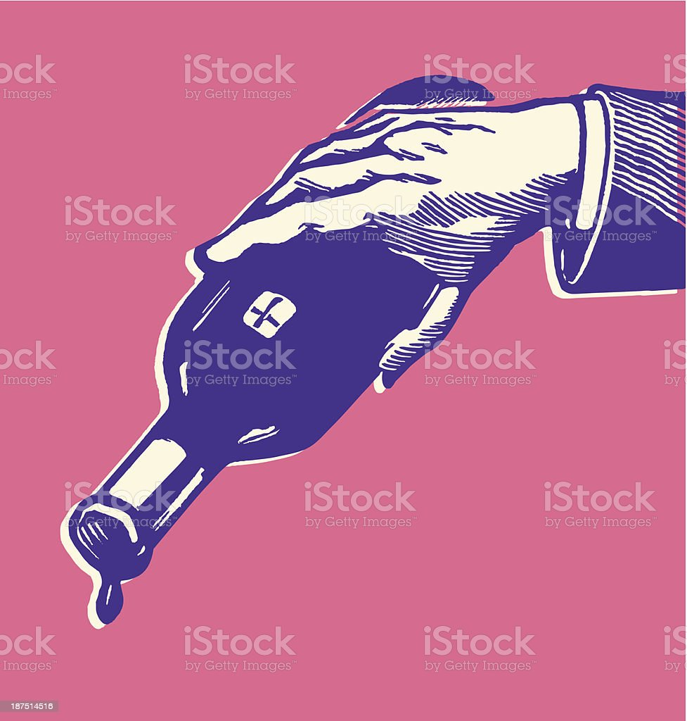 Man Pouring Last Drops of Wine from Bottle vector art illustration
