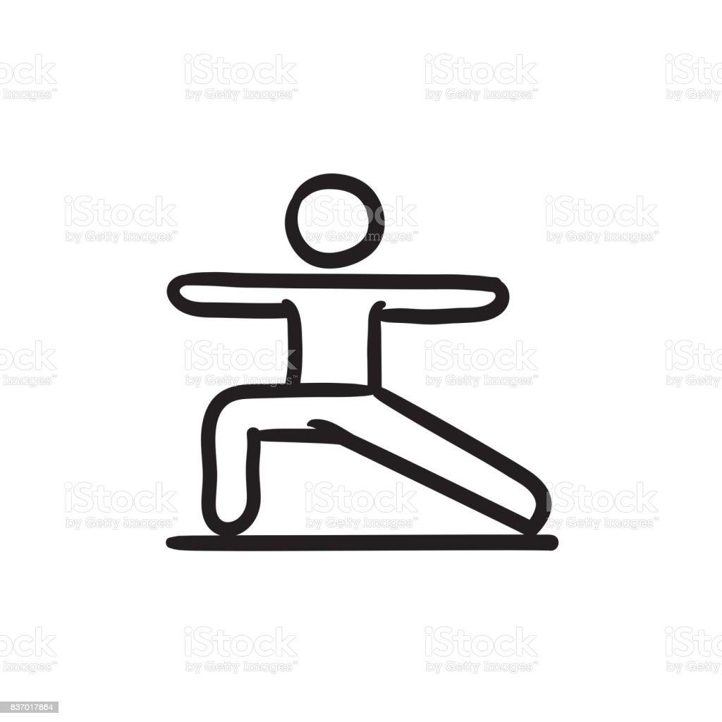 Homme Pratiquant Yoga Dessin Icone Cliparts Vectoriels Et Plus D