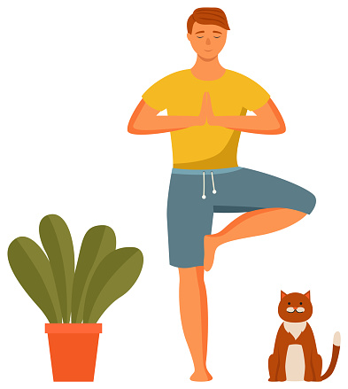 Homem praticando yoga. O cara está em uma pose de árvore. Pessoa fazendo ilustração vetorial assana