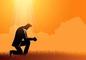 Vector illustration of a man praying under the light