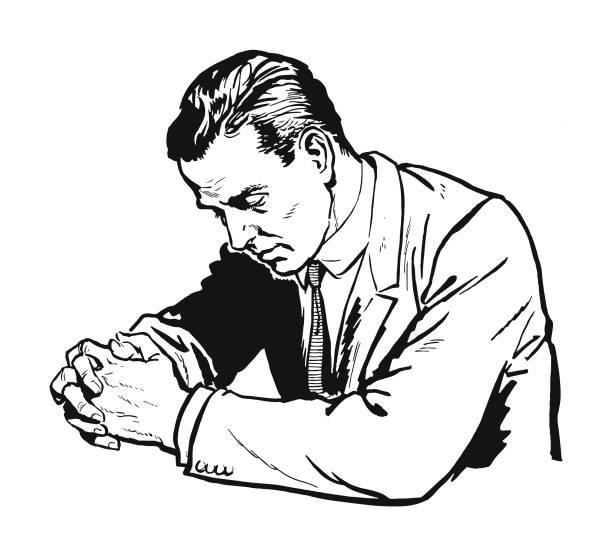 man 祈る - 不安点のイラスト素材/クリップアート素材/マンガ素材/アイコン素材
