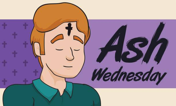 man praying with cross in his forehead on ash wednesday - ash wednesday stock illustrations, clip art, cartoons, & icons
