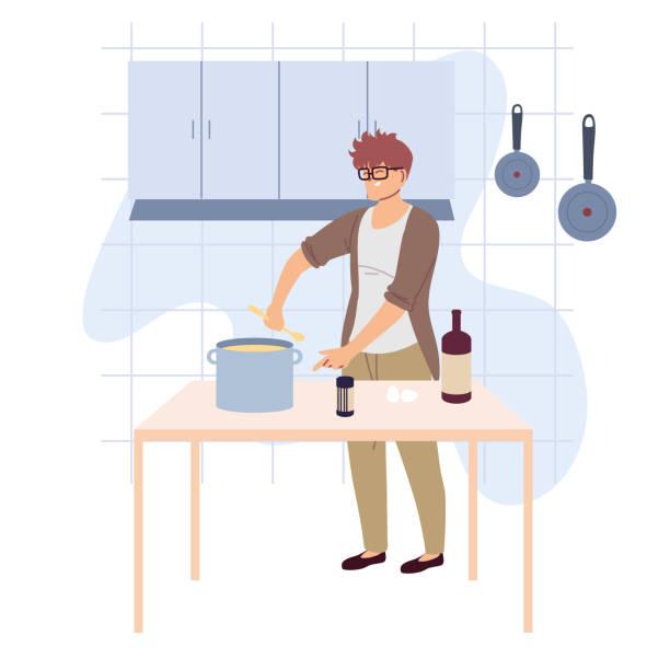 man preparing food in kitchen - busy restaurant kitchen stock illustrations