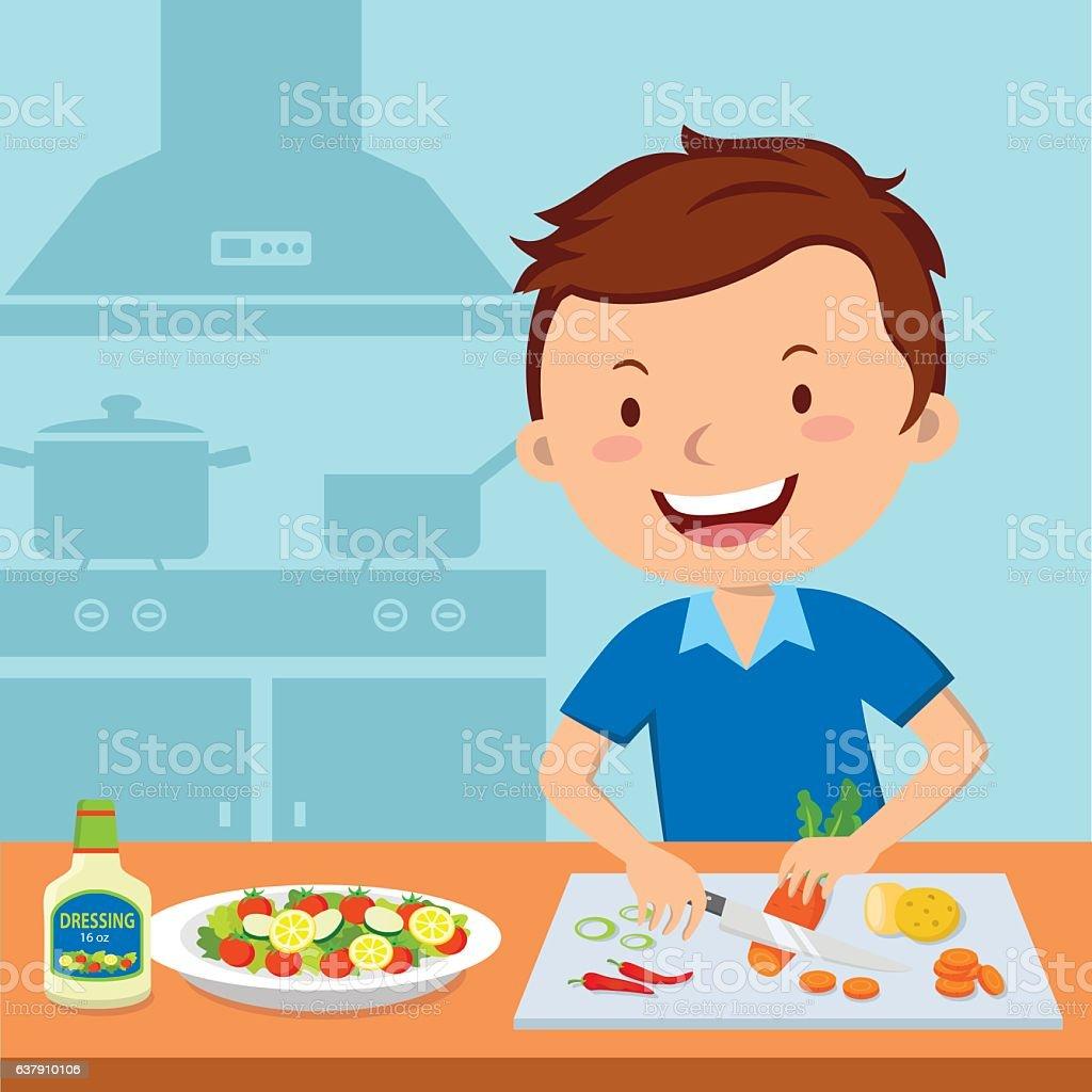 Man Preparing Food In Kitchen stock vector art 637910106 | iStock