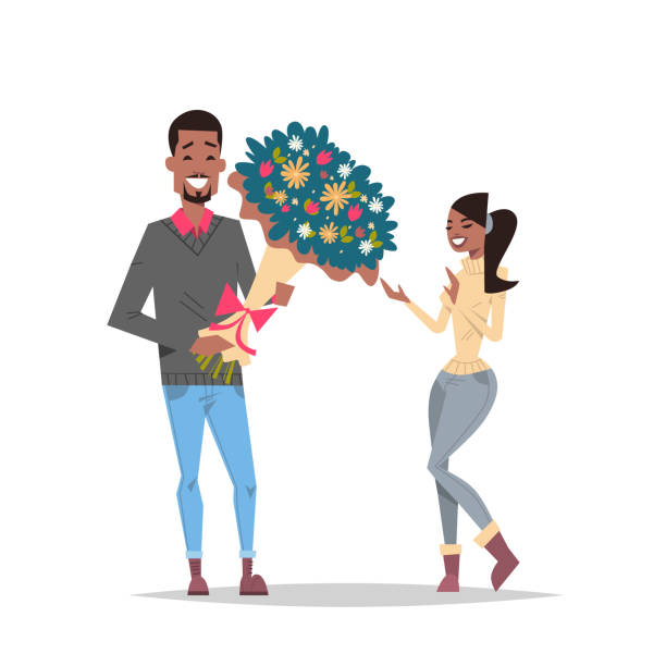 man present woman bouquet of flowers happy valentines day holiday concept african american couple in love male female cartoon characters full length isolated flat man present woman bouquet of flowers happy valentines day holiday concept african american couple in love male female cartoon characters full length isolated flat vector illustration african american valentine stock illustrations