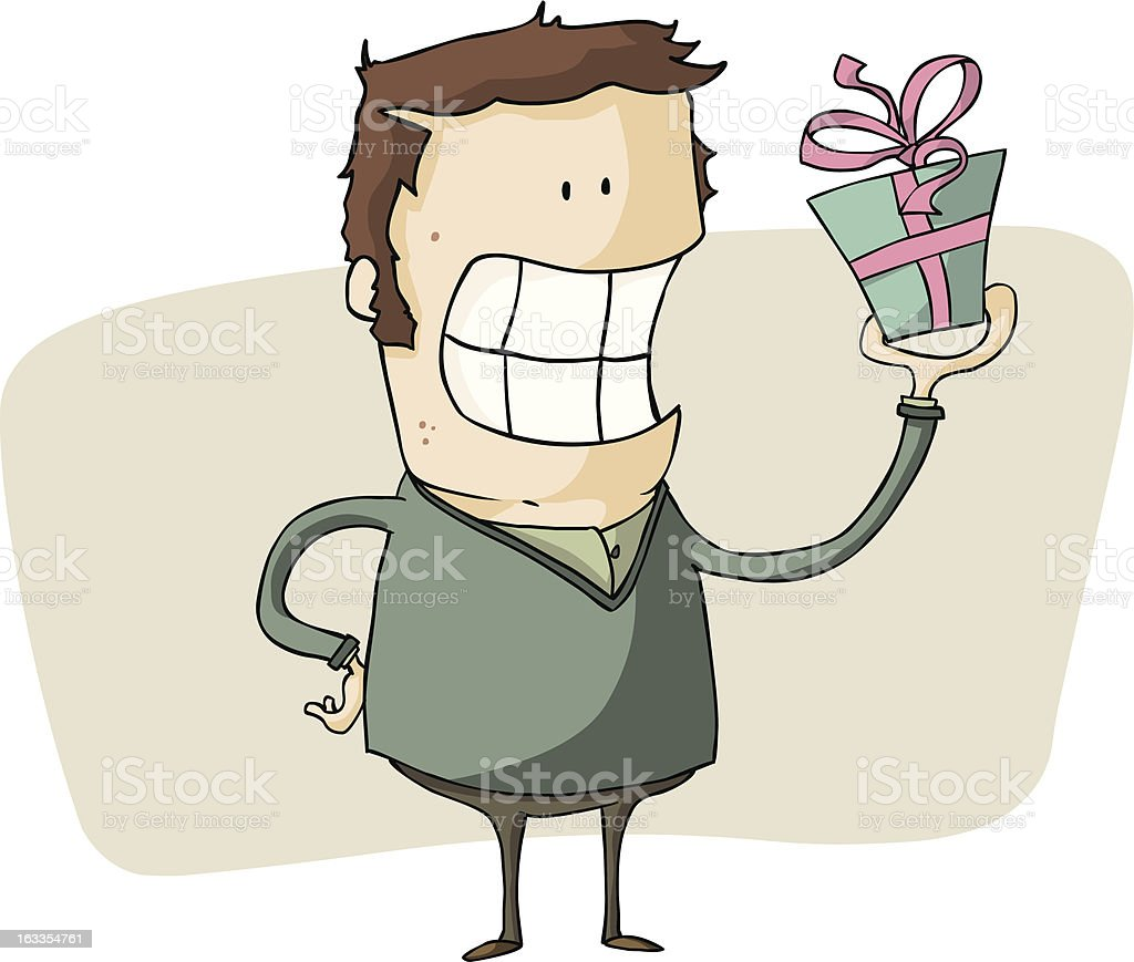 man presenting a gift royalty-free stock vector art